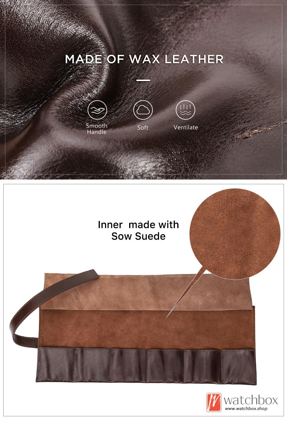 new vintage geunine wax leather 6 pockets watch case storage travel roll tied up bag organizer box