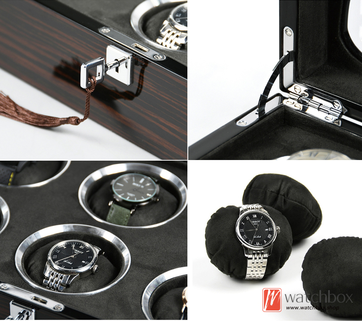top grade black sandalwood pattern round pillow for big watch jewelery storage display box home decoration